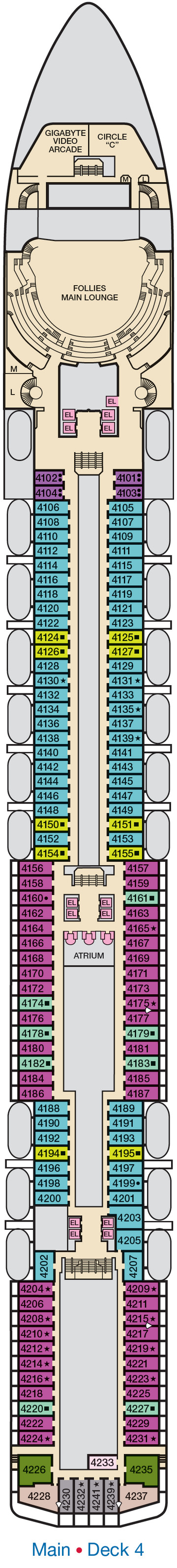 Carnival Legend Main Deck 4 layout
