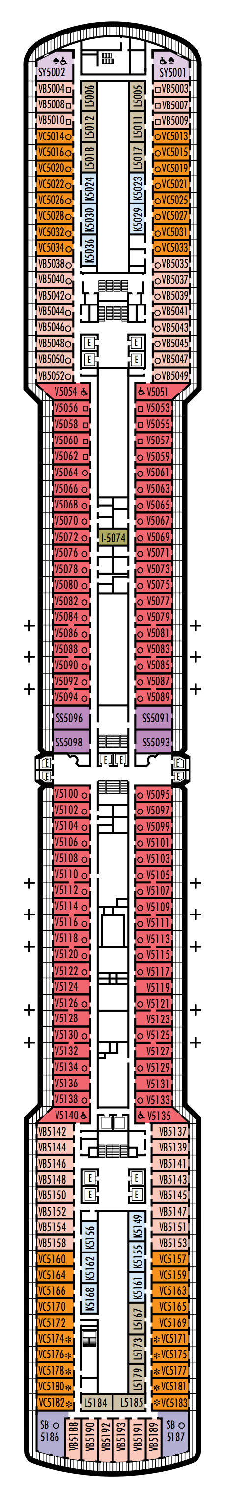Eurodam Deck 5 - Verandah Deck layout
