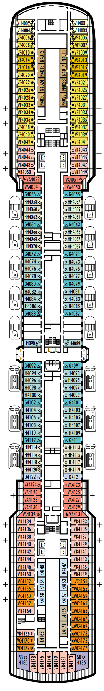 Noordam Deck 4 - Upper Promenade   layout