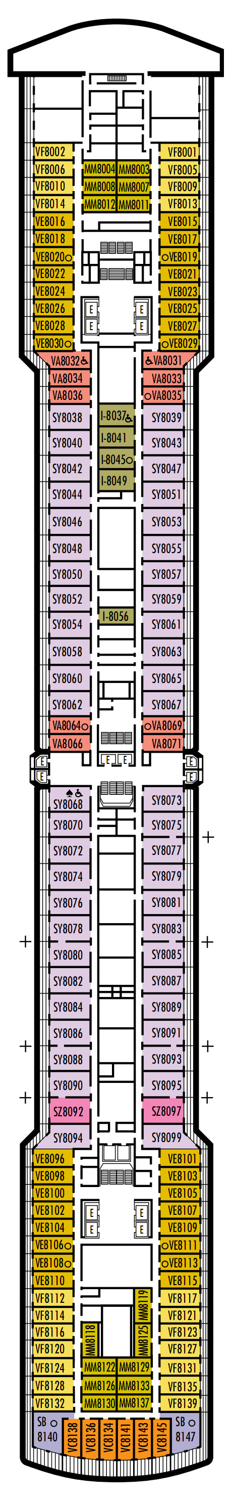 Zuiderdam Deck 8 - Navigation Deck layout