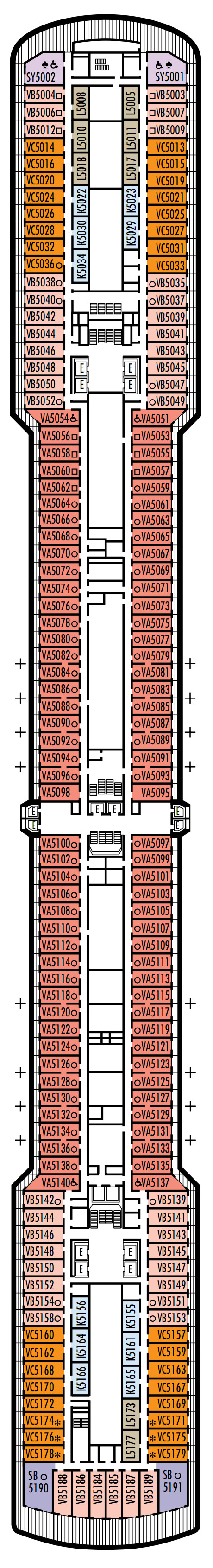 Zuiderdam Deck 5 - Verandah Deck layout