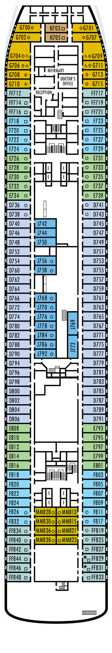 Veendam Deck 4 - A Deck layout