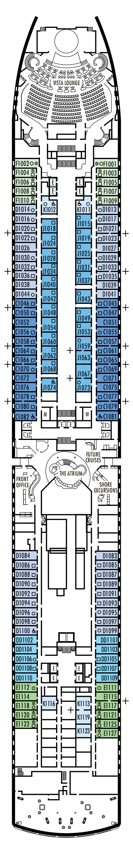 Westerdam Deck 1 - Main Deck   layout