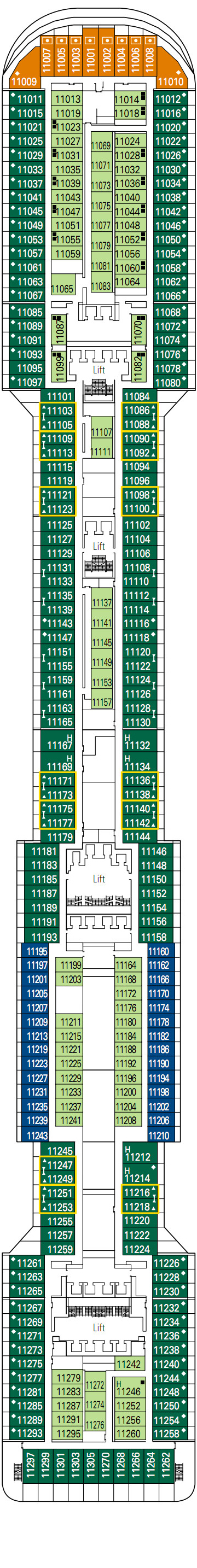 MSC Divina Iride Deck 11 layout