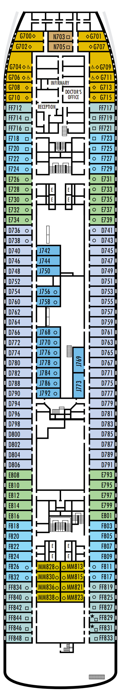 Maasdam Deck 4 - A Deck   layout