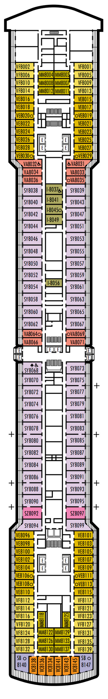 Noordam Deck 8 - Navigation Deck layout