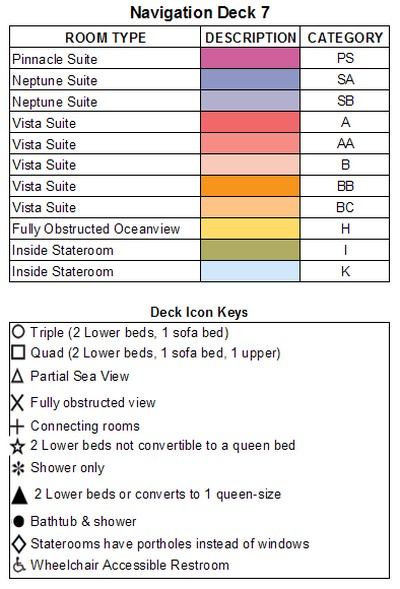 Zaandam Deck 7 - Navigation Deck plan keys