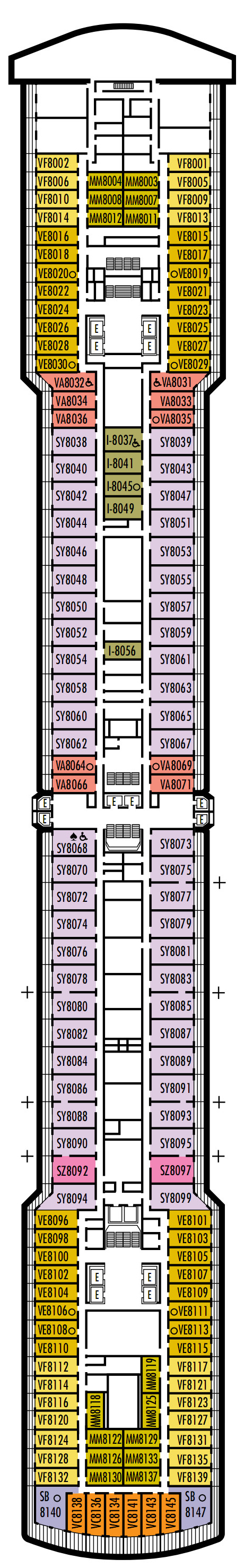 Westerdam Deck 8 - Navigation Deck layout
