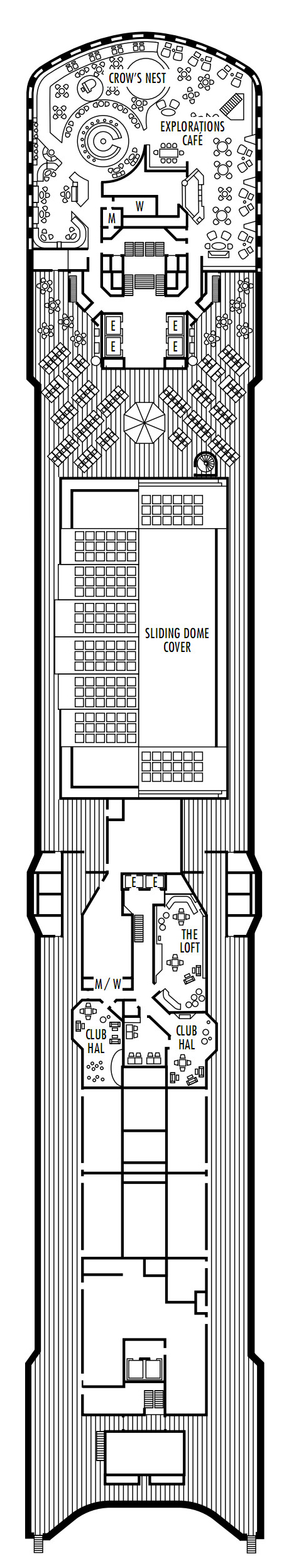 Westerdam Deck 10 - Observation Deck   layout