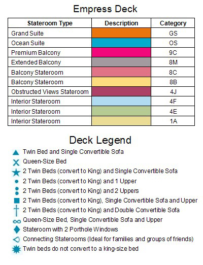 Carnival Glory Empress Deck 7 plan keys