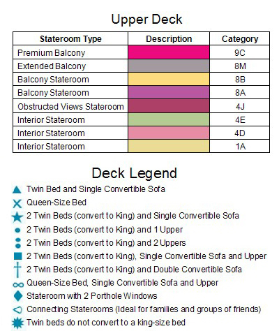 Carnival Glory Upper Deck 6 plan keys
