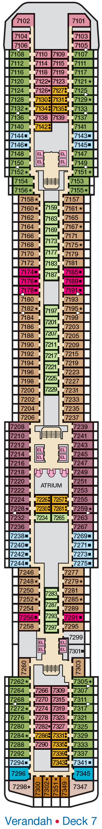 Carnival Legend Verandah Deck 7 layout