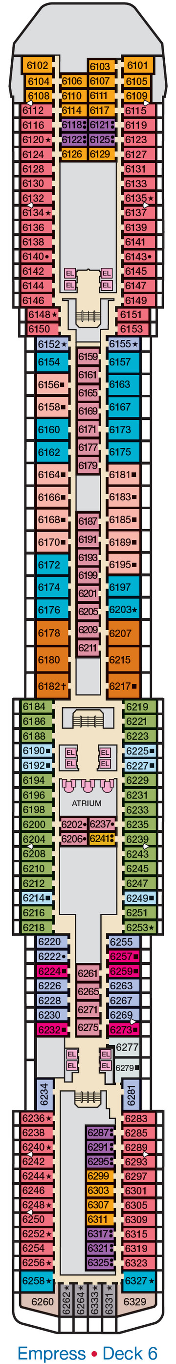 Carnival Legend Empress Deck 6 layout