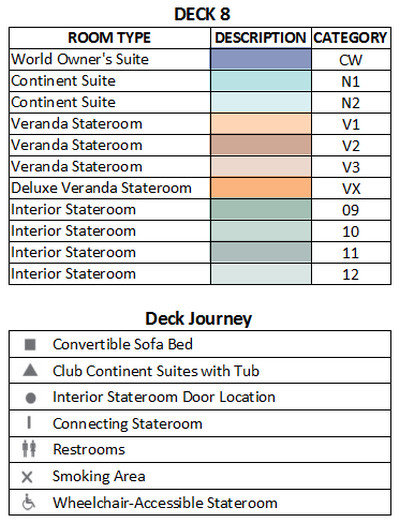 Azamara Journey Deck 8 plan keys