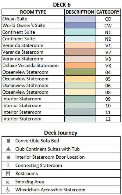 Azamara Journey Deck 6 plan keys