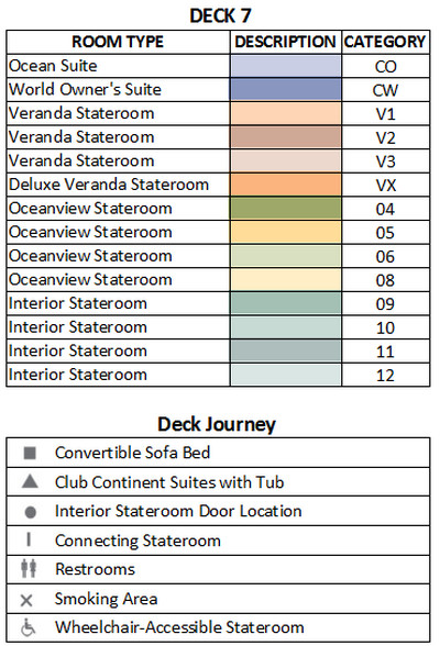 Azamara Journey Deck 7 plan keys