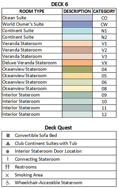 Azamara Quest Deck 6 plan keys