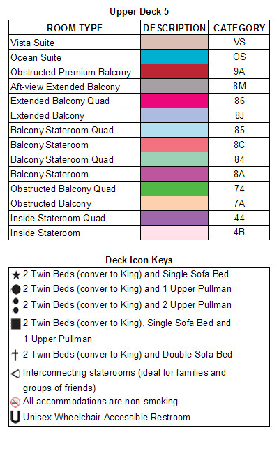 Carnival Legend Upper Deck 5 plan keys