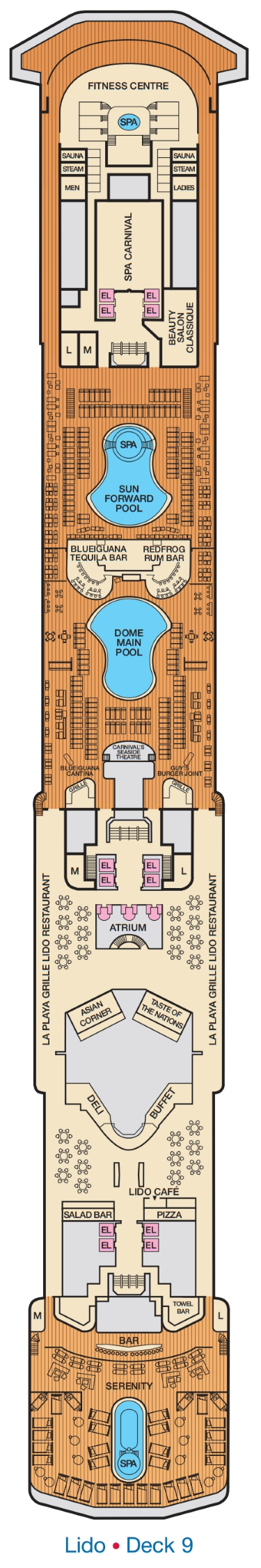 Carnival Spirit Lido Deck 9 layout