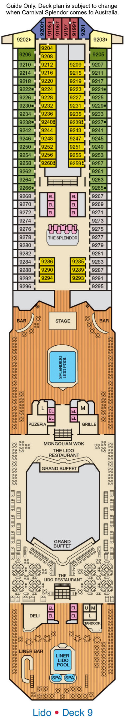 Carnival Splendor Deck 9 layout