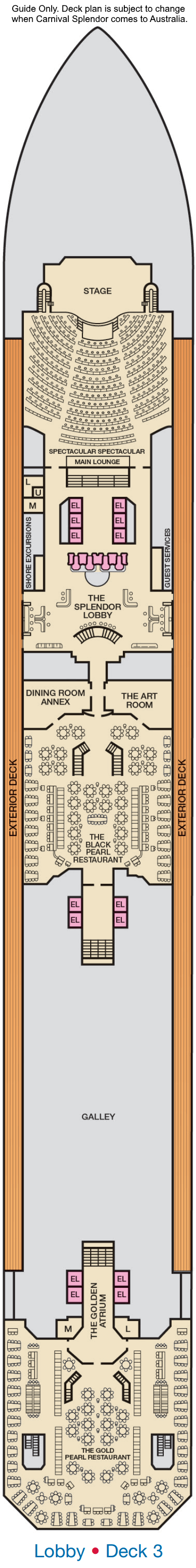 Carnival Splendor Deck 3 layout