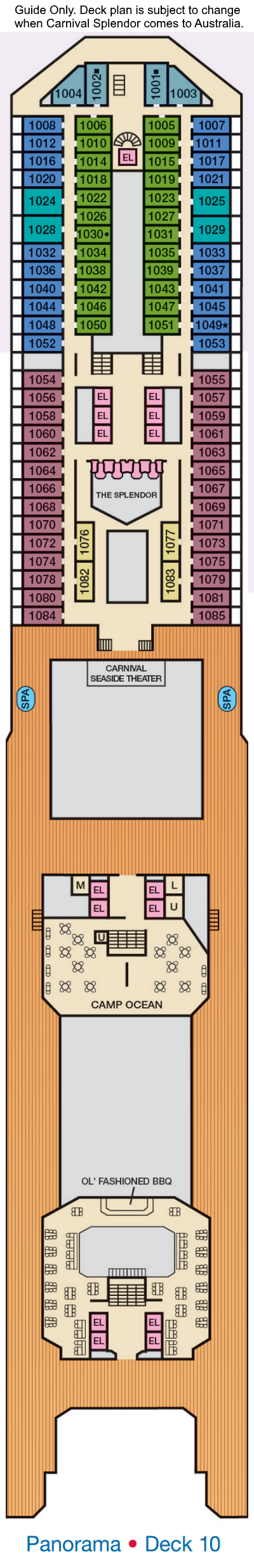 Carnival Splendor Deck 10 layout