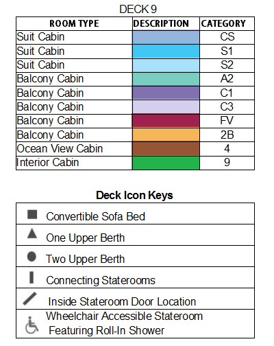 Celebrity Constellation Sky Deck plan keys