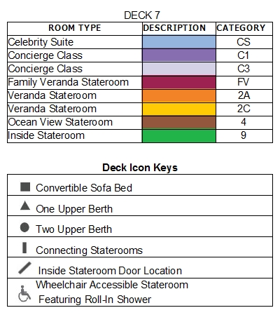Celebrity Millennium Deck 7 plan keys