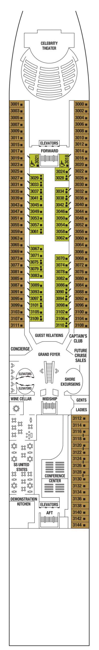 Celebrity Millennium Plaza Deck  layout