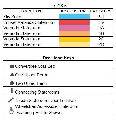 Celebrity Solstice Deck 6 plan keys