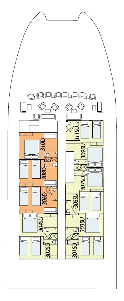 Coral Expeditions I Deck B layout