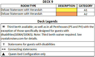 Crystal Serenity Deck 9 Sea Breeze  plan keys