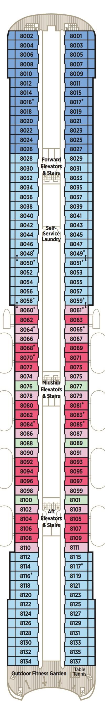 Crystal Symphony Deck 8 Horizon layout
