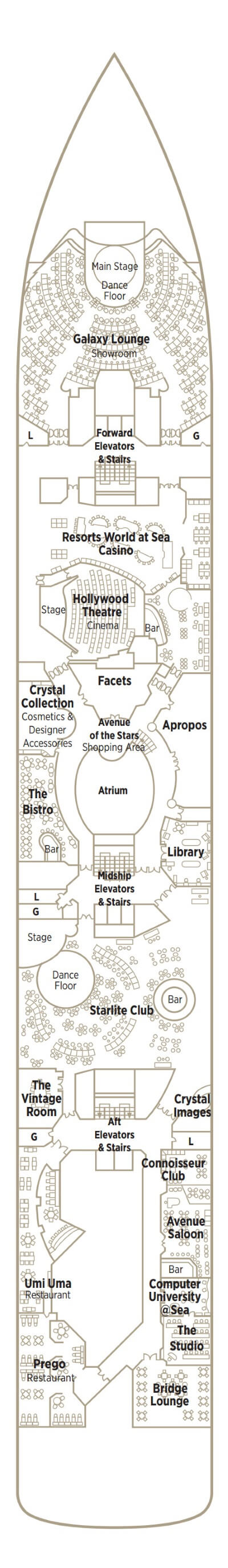 Crystal Symphony Deck 6 Tiffany layout
