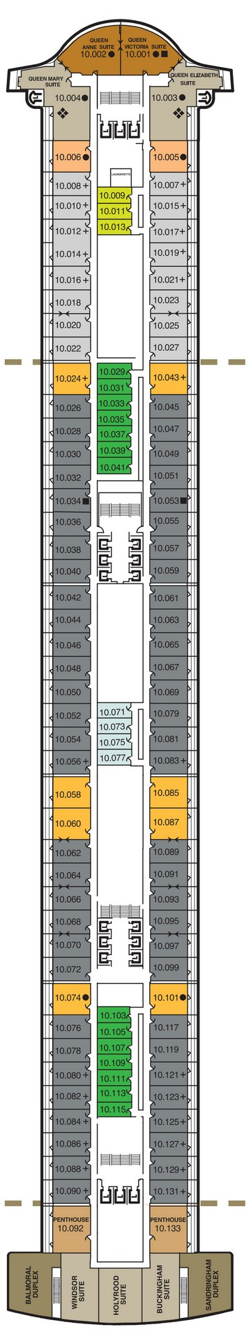 Queen Mary 2 Deck 10 layout