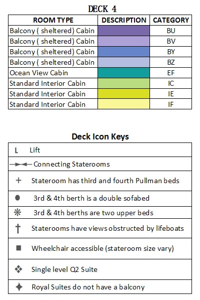 Queen Mary 2 Deck 4  plan keys