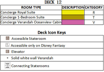 Disney Fantasy Deck 12 plan keys