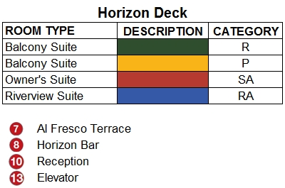 Emerald Radiance Horizon Deck plan keys