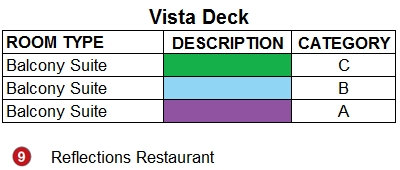 Emerald Radiance Vista Deck plan keys