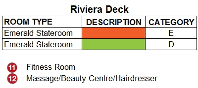 Emerald Radiance Riviera Deck plan keys