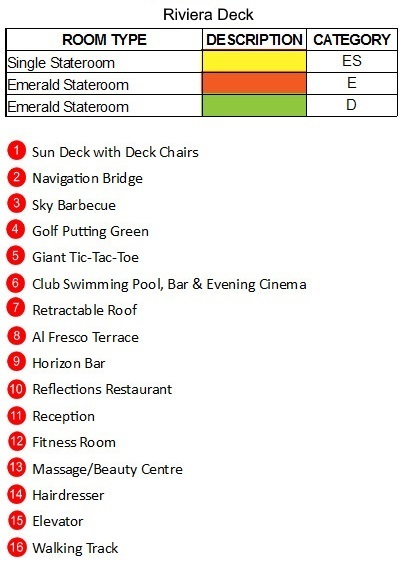 Emerald Star Ship Riviera Deck plan keys