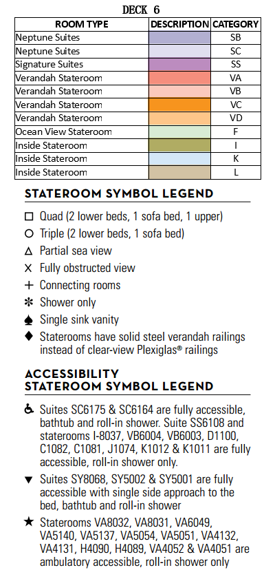 Oosterdam Deck 6 - Upper Verandah Deck   plan keys