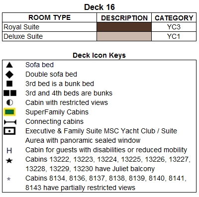 MSC Divina Urano Deck 16 plan keys