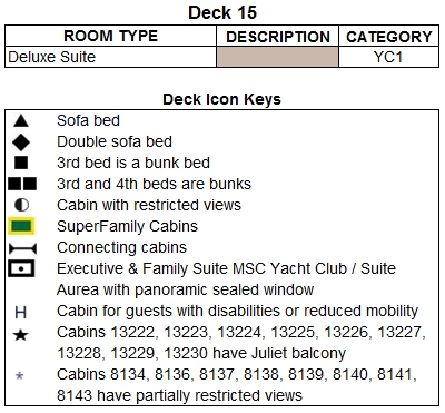 MSC Divina Mercurio Deck 15 plan keys