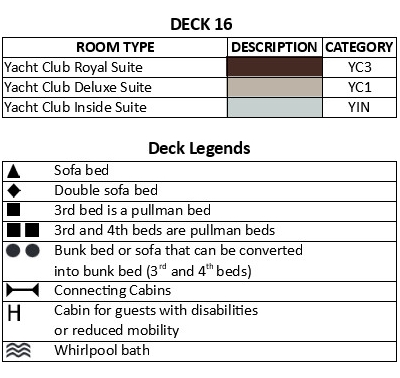 MSC Seaside Deck 16 plan keys