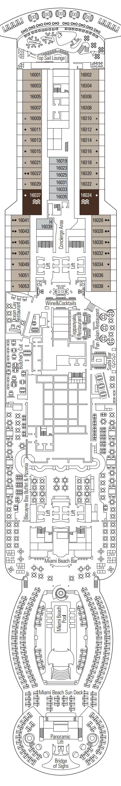MSC Seaside Deck 16 layout