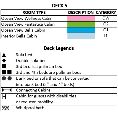 MSC Seaside Deck 5 plan keys