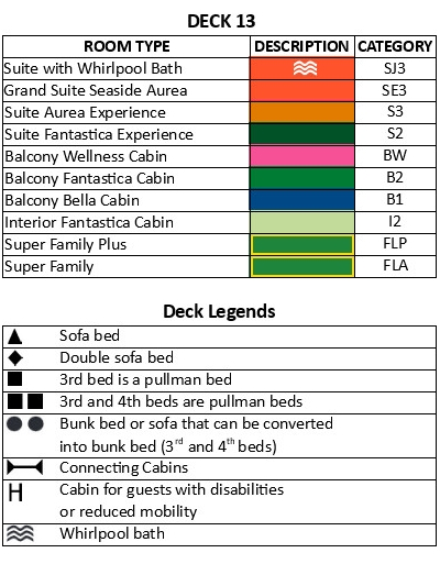 MSC Seaside Deck 13 plan keys