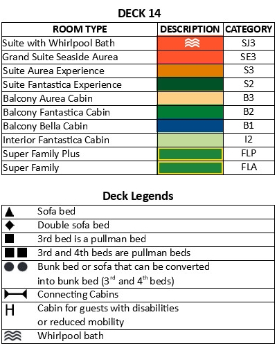 MSC Seaside Deck 14 plan keys