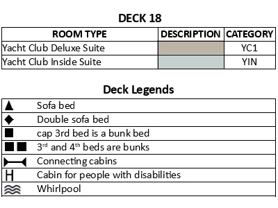 MSC Seaview Deck 18 plan keys